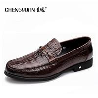CHENGYUAN Men S British Footwear Crocodile Pattern Comfortable A Pedal Business Casual Brown Black Pea Casual