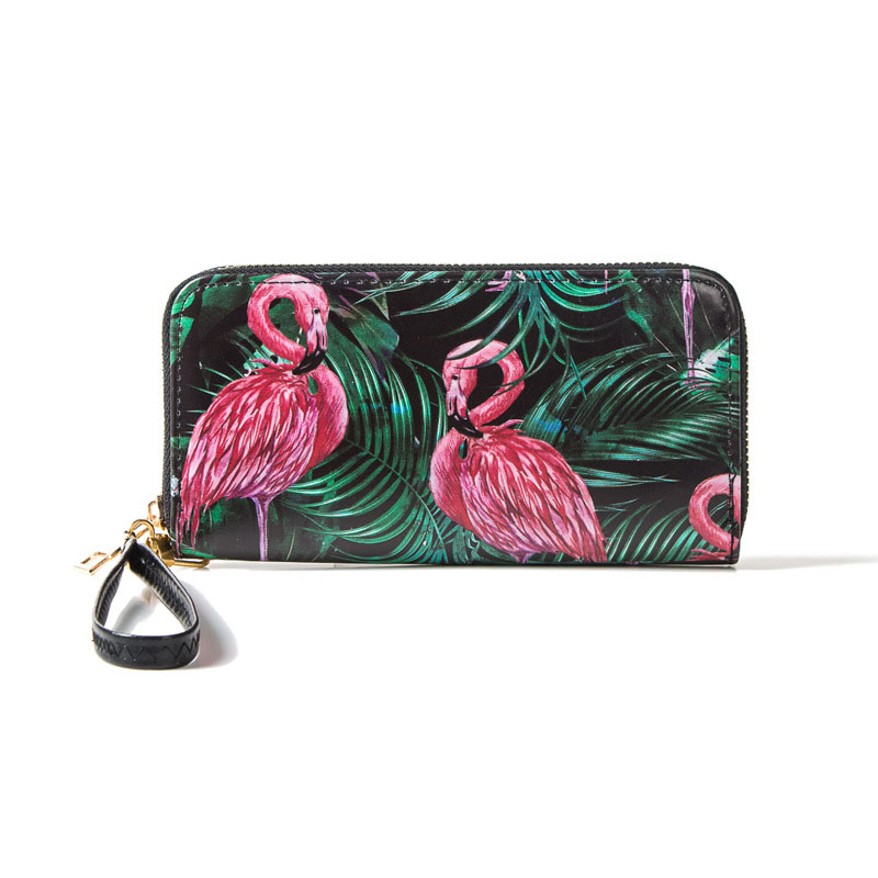 Women Fashion Animal Print Long Wallet RFID Lovely Flamingo Coin Purse Card Holder Clutch Female Carteira Money Bag