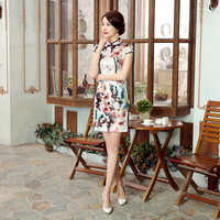 Elegant Slim Chinese Women Real Silk Cheongsam Traditional Print Flower Qipao Vintage Button Party Dress S
