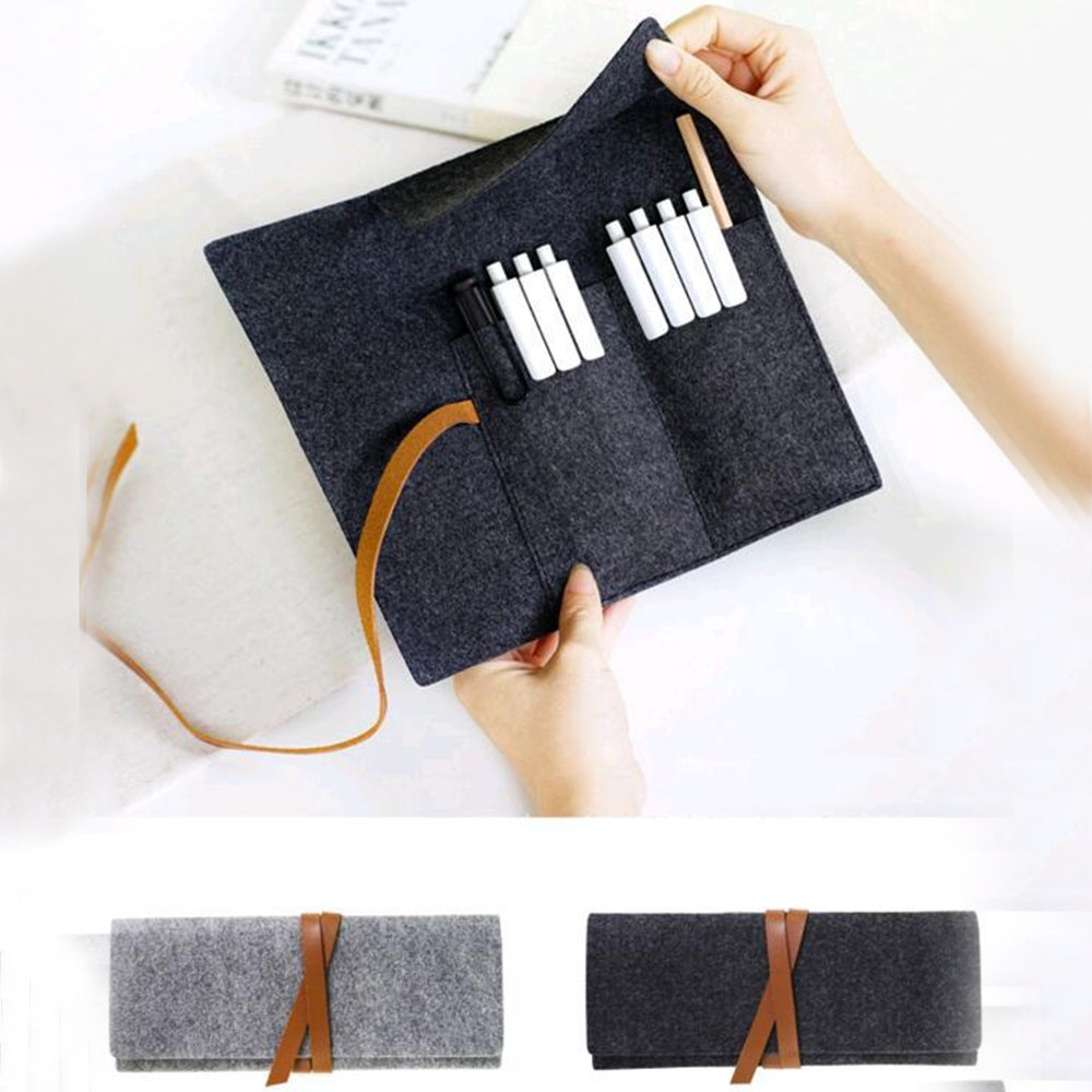 Portable Roll Pencil Case Felt Cloth Material Pen Bag Dustproof Cute Large Pencil Box Stationery For Office School Supplies