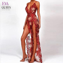 Tobinoone 2018summer Women Sleeveless Backless Halter V Neck Sexy Bodysuit Lace