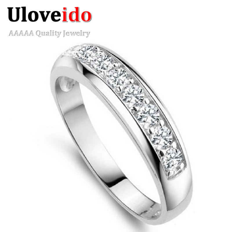 Uloveido 50% off Charms Ring for Women Wedding Band Zircon 925 Sterling Silver Rings for Women/Men Anel Wholesale Bijoux J294
