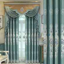 European top luxury villa embroidered Curtain For Living Room/ bedroom/ Kitchen window High Quality Jacquard tulle Curtains