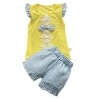Summer Baby Girls Clothes 2 pcs Set Baby Girl Clothes Bowknot Short Sleeve T-shirt + Solid Color Shorts Girls Sets