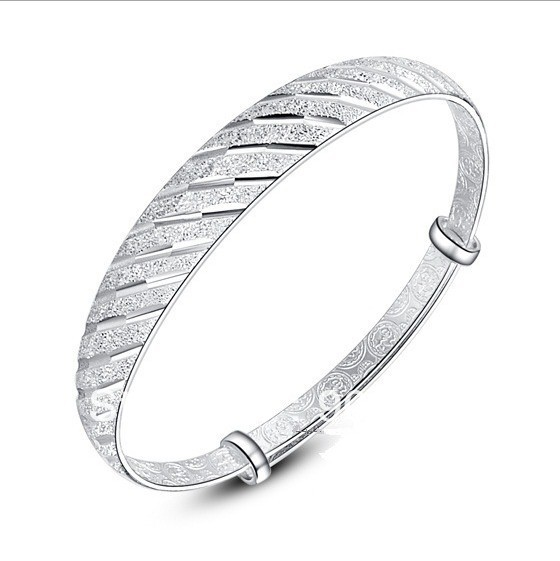 OMH wholesale jewelry 2013 Women fashion can adjust size Dont rub off meteor shower Real 925 silver bangles SZ109