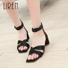Liren 2019 Summer New Silk Gladiator Sweet Ankle Strap Women Sandals Square Head Shallow Toe Fashion Lady Size 35-40