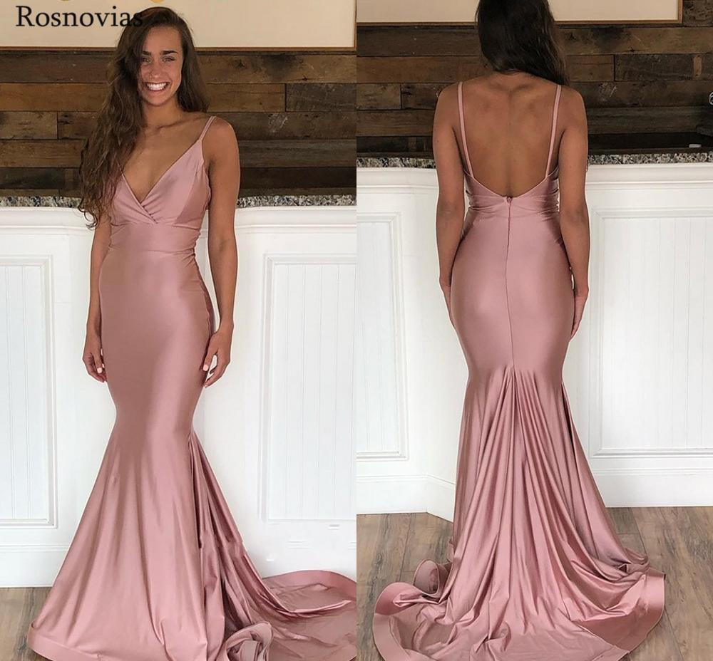 Mermaid Evening Dresses 2019 V Neck Backless Sweep Train Pleats Prom Party Formal Dresses Robe De Soirée Evening Dresses Long in Evening Dresses from Weddings Events