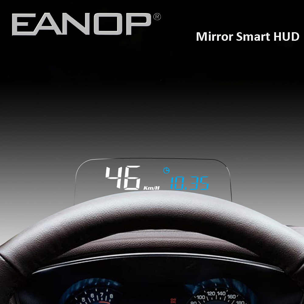 EANOP Mirror HUD Auto Car HUD Head-up Display OBD2 Speed Projector Speedometer KMH/KPM Temperature & Oil Consumption etc