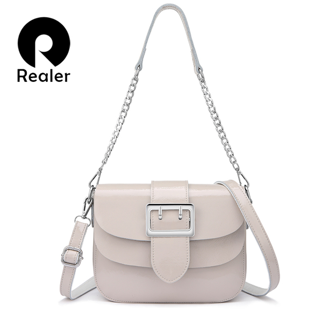 REALER brand patent leather handbags for women fashion messenger bag women high quality Chain shoulder bag female tote white