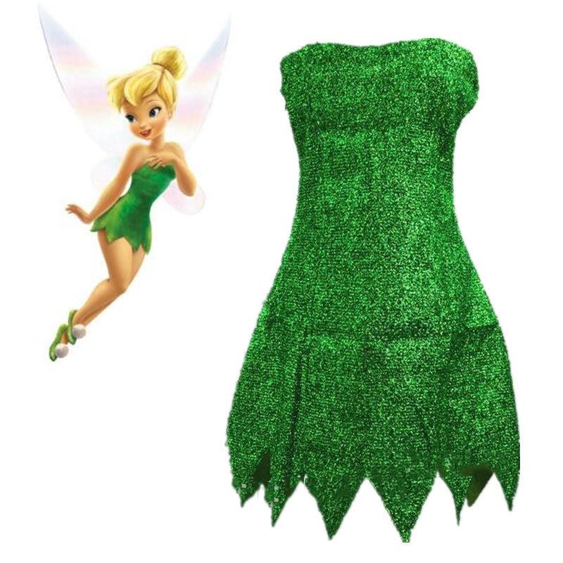 Pixie Fata Costume Cosplay Trilli Vestito Verde Tinkerbell Festa di Halloween Cosplay Sexy Mini Vestiti non Incl Ala Nave di Goccia