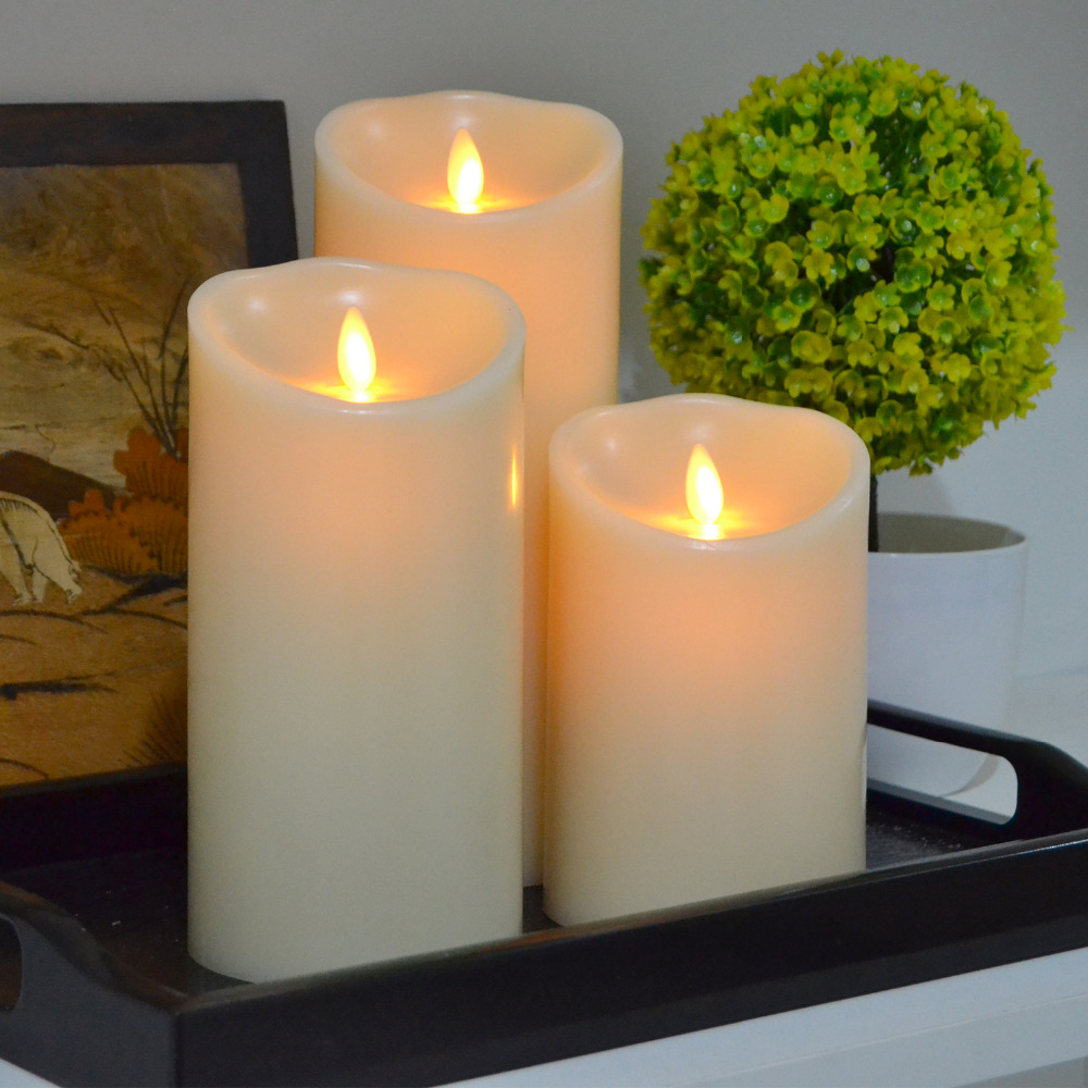 3pcs Lot 2aa Battery Operated Votive Candles Unscented Led To Produce A Candle Circuit Made From While Using 4 Aa Batteries Ivory Wax Flameless 7 Moving Wick Pillar Light Lamp With Timer