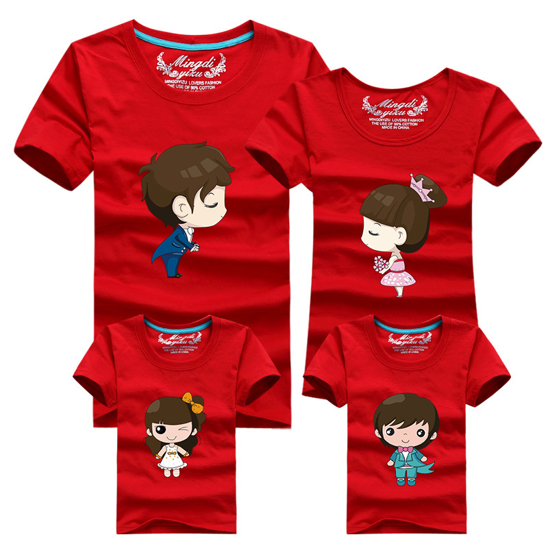 1pcs Family Look T Shirts 16 Colors 2016 Brand Summer Family Matching Clothes Dad & Mom & Son & Daughter Cartoon Family Outfits