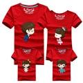 1psc Family Look Camisetas 16 Colores 2016 Marca de Verano de la Familia Ropa a juego del Papá y de la Mamá y el Hijo y la Hija de la Familia de Dibujos Animados trajes