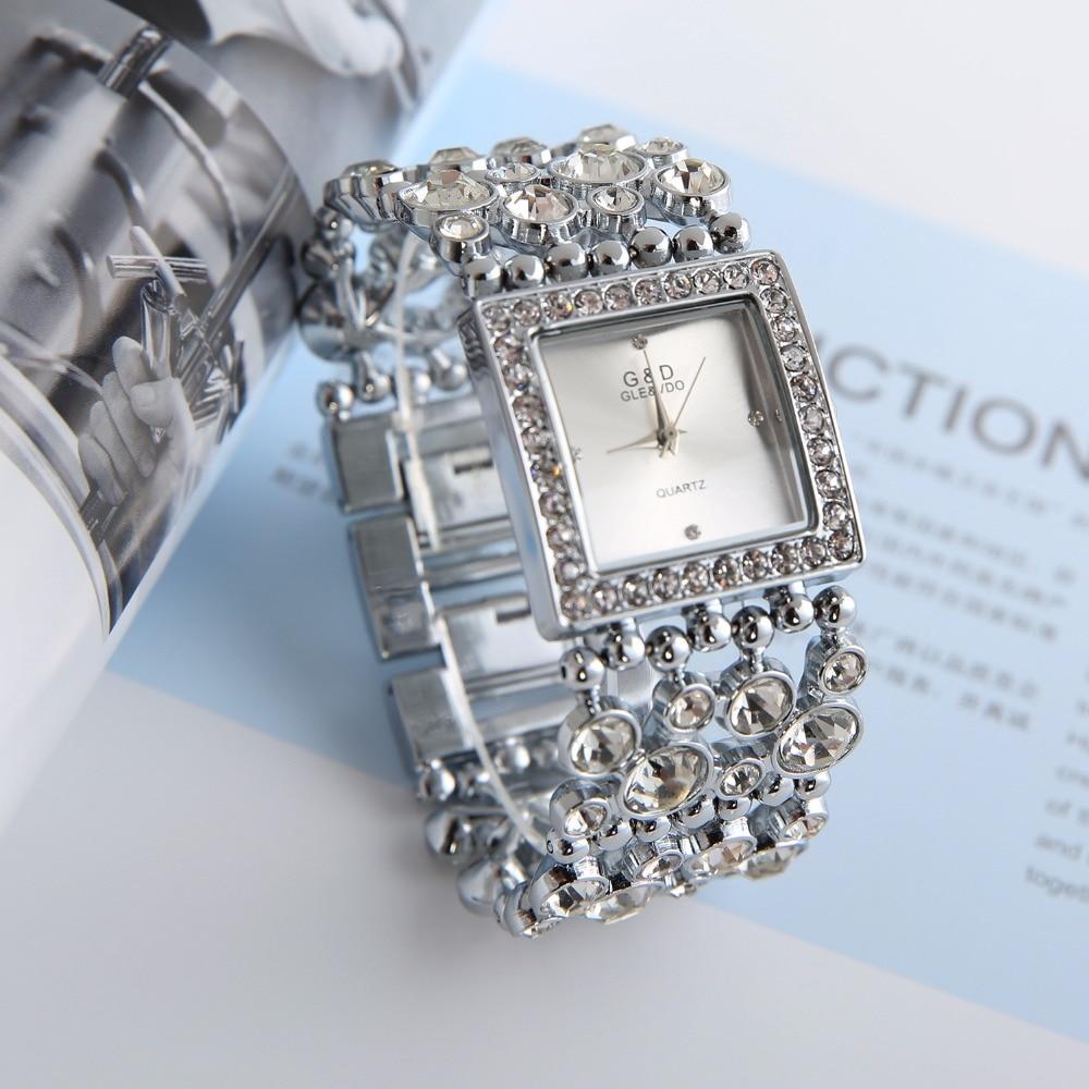 2018 G&D Luxury Brand Women's Bracelet Watches Diamond Silver Ladies Dress Watch Quartz Wristwatches Relogio Feminino Clock Gift