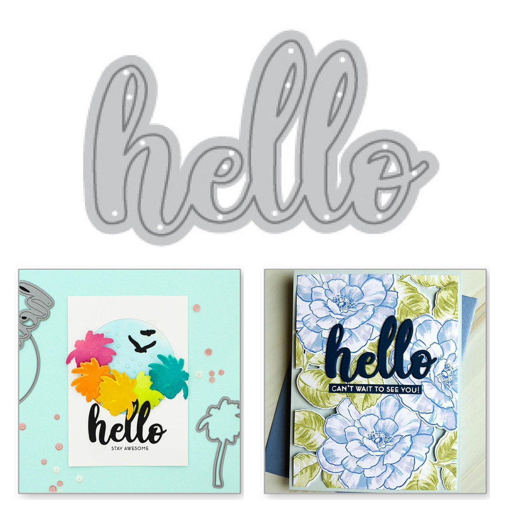Naifumodo Hello Letter Metal Cutting Dies Word Scrapbooking New 2019 For Making Card Embossing Craft Stitch Troqueles Stencil in Cutting Dies from Home Garden