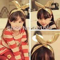 Wholesale and Retail pu leather bunny ear kids children Elastic headband hair accessory perimeter 39cm for 5-16years