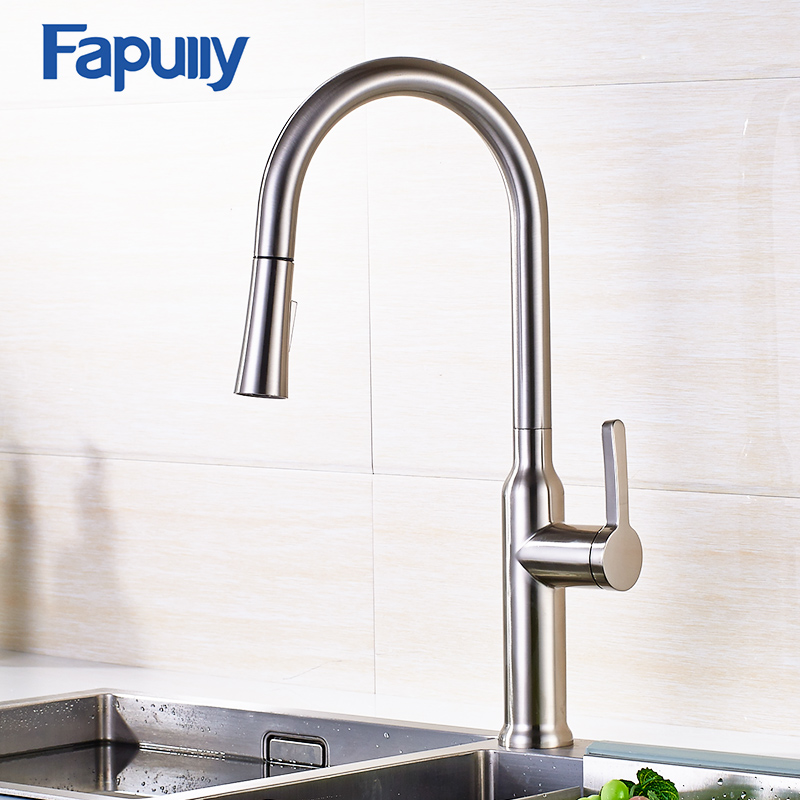 Fapully Pull Out Kitchen Faucet Polished Brushed Nickel Finish Swivel Sink Kitchen Deck Mounted Pull Down