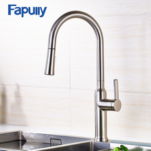 Fapully Pull Out Kitchen Faucet Polished Brushed Nickel Finish Swivel Sink Deck Mounted Down Spray Taps