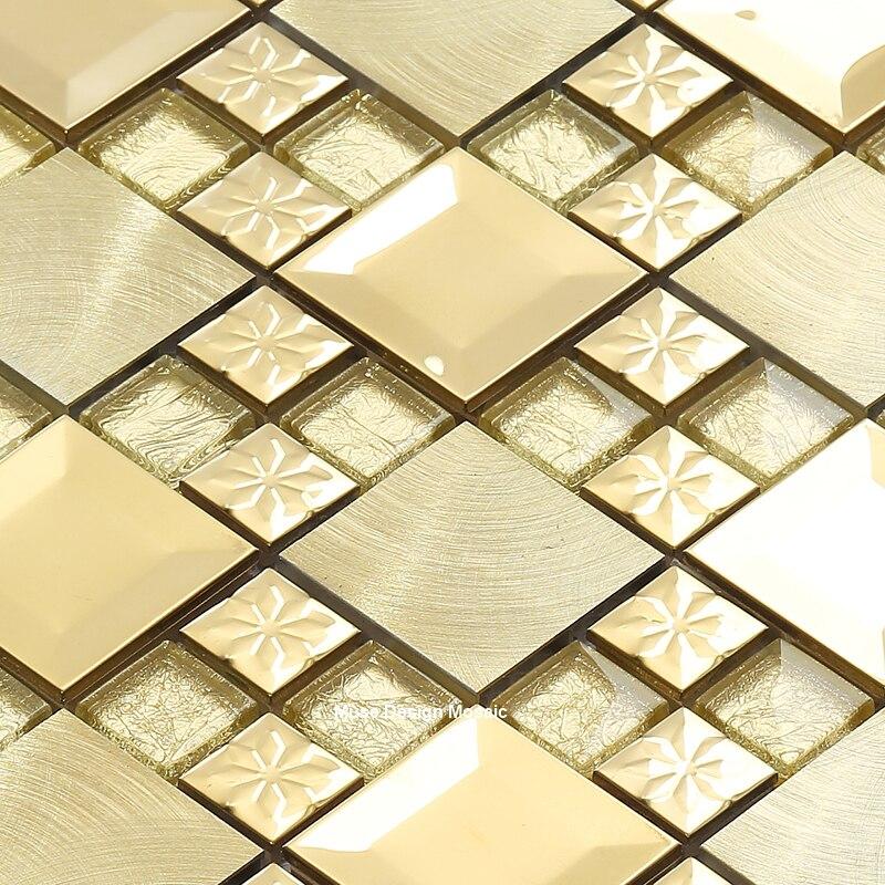 US $239.99 |Gebürstet Gold Metall Blume mixed Kristall Glas Mosaik Fliesen  für küche back Liner wand aufkleber Retro-in Tapeten aus Heimwerkerbedarf  ...
