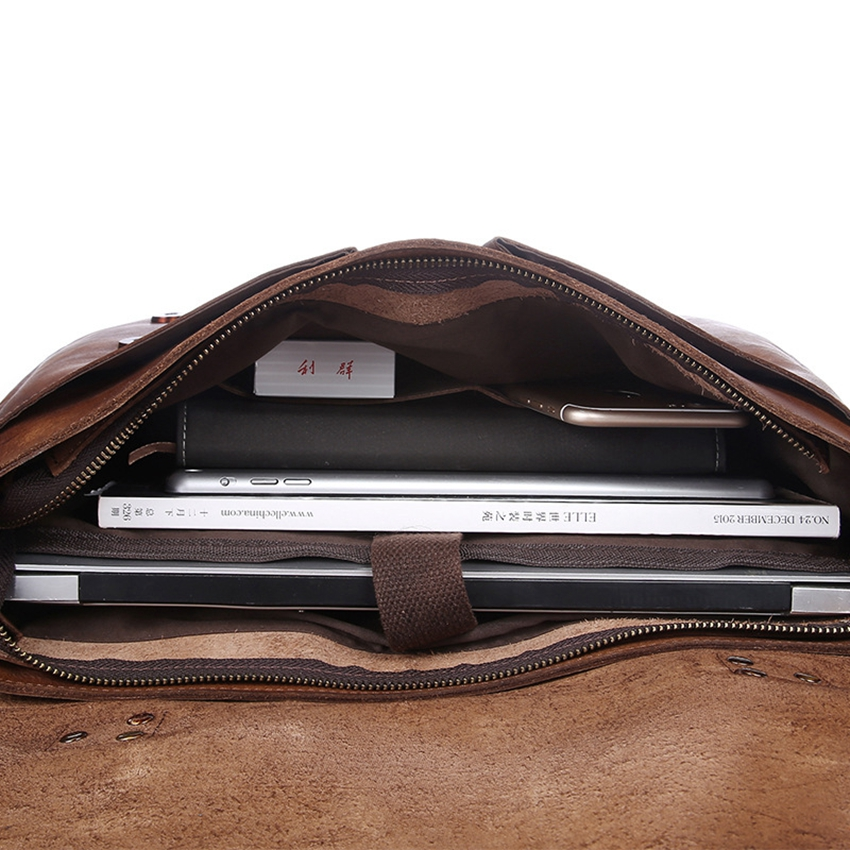 Men Genuine Leather Handbag Vegetable Taned Leather Bag Laptop Laser Engraved inscription Gift Men Handmade Retro Messenger Bags