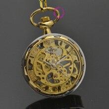 wholesale gold Mechanical Pocket Watch men skeleton steampunk man fob watches roman vintage retro father Stylish hand Wind
