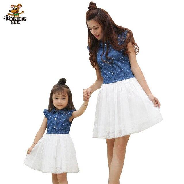 d7dfe3eeb4 Matka córka sukienki 2019 lato rodzina stroje mama i córka sukienka  pasujące ubrania niebieska biała sukienka