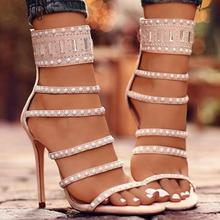 цена на Studded high heel sandals cut out open toe zip sweet pink cool black pearl decor runway dress party shoes free ship customized