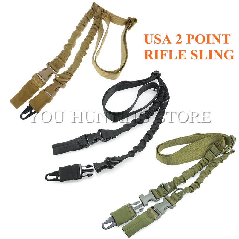 2 Two Points Tactical Sling System Strap Bungee Rifle Gun Sling with QD Buckles|rifle gun sling|gun sling|tactical sling - title=