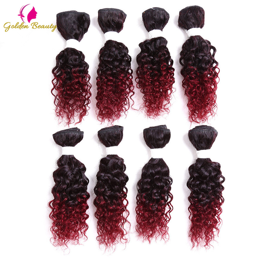 Golden Beauty 8pcs/Pack 8inch Curly Sew In Weave Synthetic Hair Wefts Full Head Sew In Weave Hair Extensions