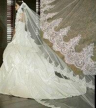 3 Metro Branco Marfim Catedral Véus De Noiva Borda Do Laço Longo Véu de Noiva com Pente Acessórios Do Casamento de Noiva Véu De Noiva Mantilha(China (Mainland))