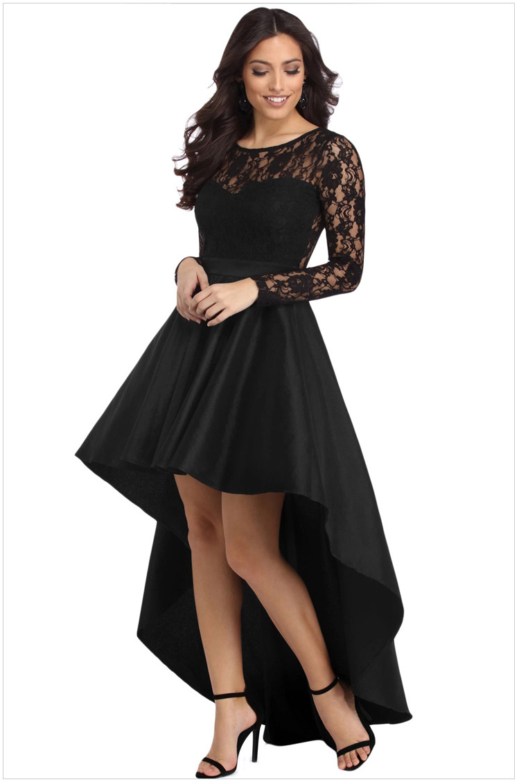 Sikilely Plus Size Women Dresses Long Sleeve Black Lace High Low