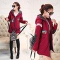 Outono e inverno tendência da moda temperamento soltos grandes estaleiros das mulheres Faculdade Vento confortável casaco com capuz