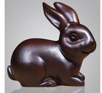 Ebony solid wood carving rabbit pendulum Rosewood animal creative office room hanging business office