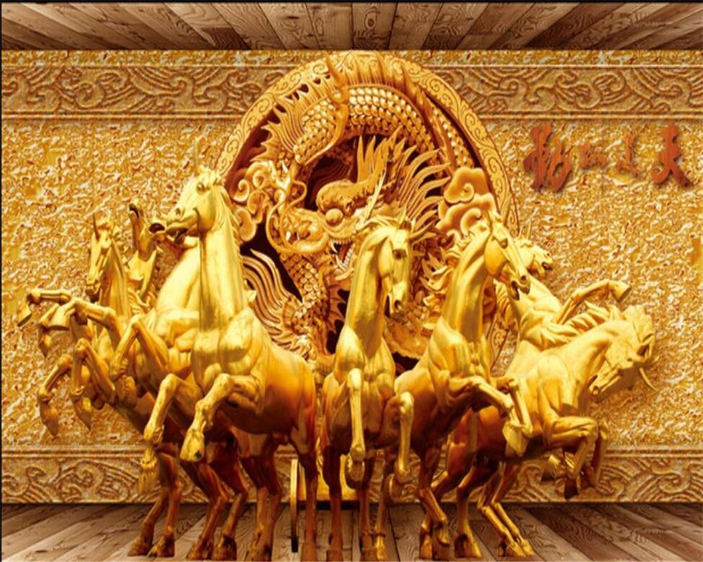 Us 885 41 Offbeibehang 3d Wallpaper Golden Riding Horse 3d Relief Photo Mural Wallpaper 3d Living Room Tv Wall Wall Decorative Wallpaper In