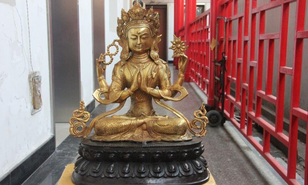 China Old Buddhism Bronze Glid Four Arm Kwan-yin Bodhisattva Buddha Statue