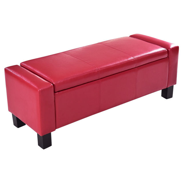 Giantex Pu Leather 43 Storage Ottoman Bed Modern Living Room Sofa Bench Pouffe Footstool Organizer Home Furniture Hw56296re
