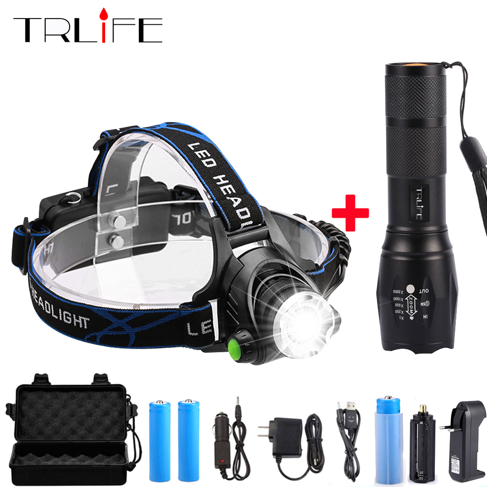 12000LM LED Headlamp T6/L2/V6 Head Light Zoom Headlamps Use 2*18650+LED Flashlight Zoom Torch By 18650 Battery For Bicycle Light