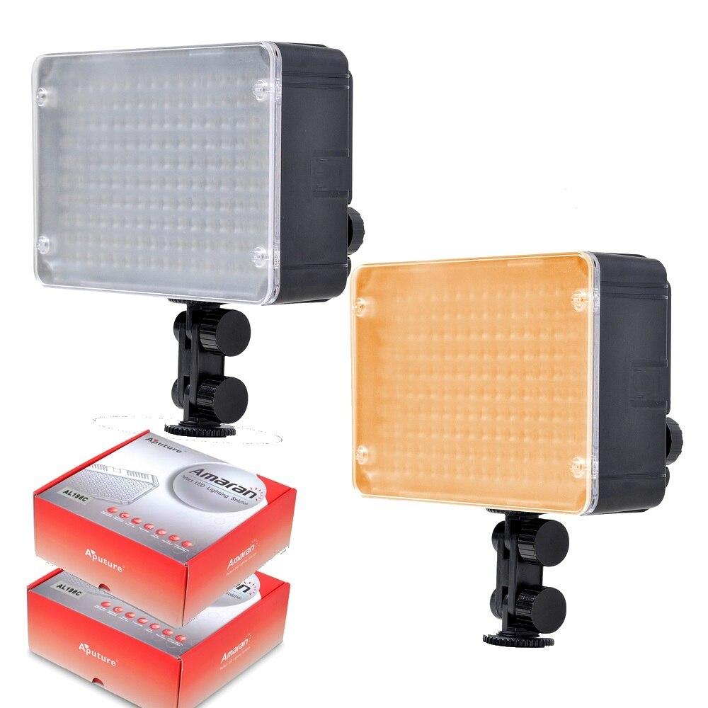 2pcs Aputure Amaran AL-198 198 LED Video Light panel/AL198 LED Light for DSLRs aputure amaran tri 8s daylight balanced dimmable led video light panel ez box diffuser kit batteries 2 4g remote control v mount