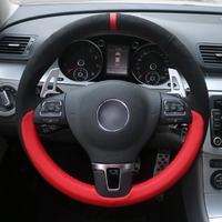 Black suede Red leather Hand Sew Wrap Car Steering Wheel Cover For Volkswagen Mk6 Tiguan Passat B7 Passat CC Touran