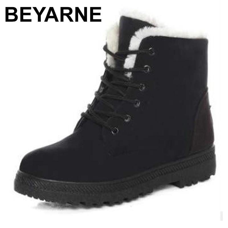 BEYARNEFashion warm winter boots female students warm short boots flat cotton shoes women's shoesE771