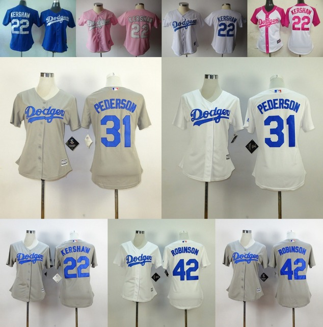 1548a9d7f Women Dodgers Jersey 31 Joc Pederson Woman 42 Jackie Robinson Lady 22  Clayton Kershaw Girl Jersey Pink White Gray Blue Stitched
