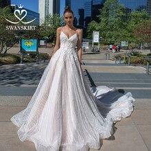 Boho Appliques col en v robe de mariée 2020 swanjupes délicates fleurs a ligne princesse Court Train robe de mariée robe de Noiva F114