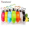 Transhome クリエイティブフルーツジュース注入器 650 ミリリットルプラスチックポータブルレモンジュースボトルウォータースポーツのための飲料ボト
