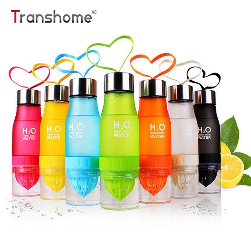 Transhome creativo jugo de fruta infusor botella de agua 650 ml plástico portátil jugo de limón botella para agua deporte al aire libre coctelera