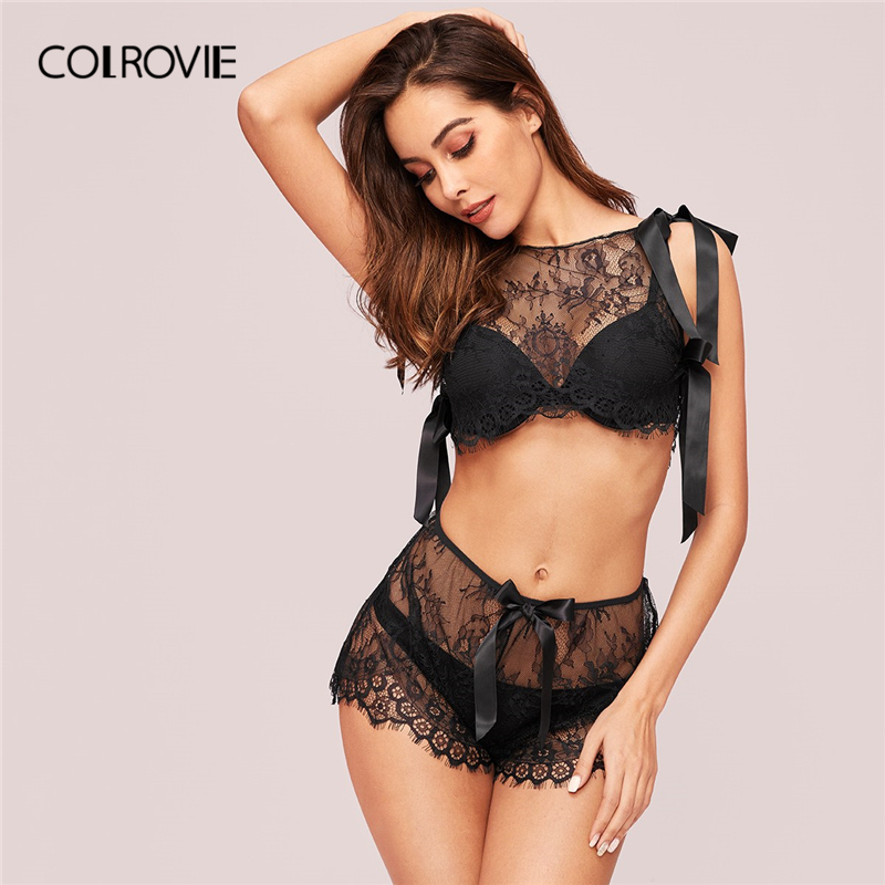 COLROVIE Black Bow Tie Eyelash Lace Top With Shorts Without Lingerie Women 2019 Summer Sexy   Pajama     Sets   Female Solid Sleepwear