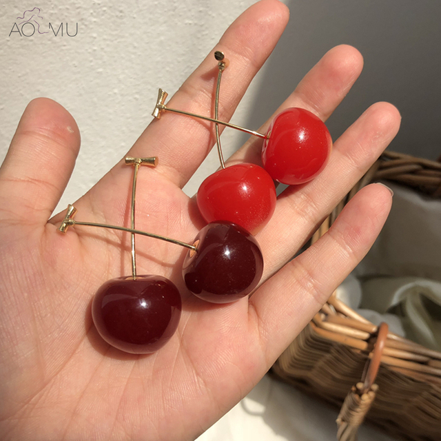Aomu Japan Cute Sweet Simulation Red Cherry Gold Color Fruit Stud Earrings For Women Girl Student Gift by Aomu