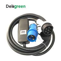 Level 2 EV charger Schuko CEE 16A 10A 15A Adjustable IEC62196 EVSE kit With Display for Renault Porsche Smart EQ Tesla Volvo