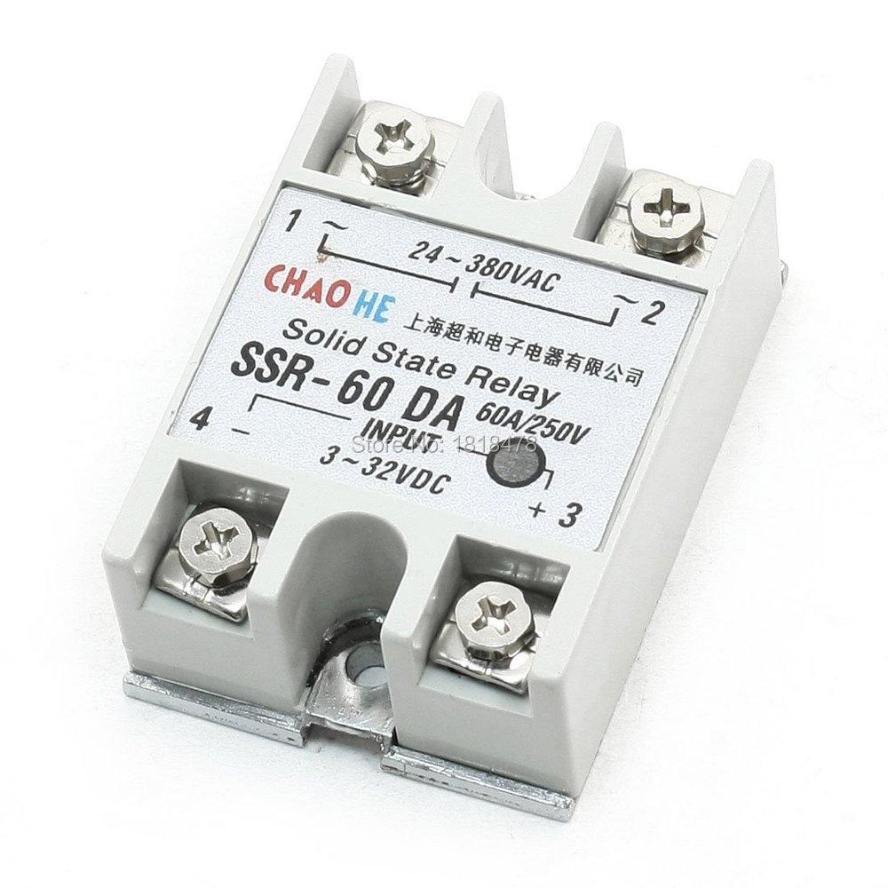 SSR-60DA Temperature Control AC 24V-380V Output Solid State Relay 60A SSR-60DA normally open single phase solid state relay ssr mgr 1 d48120 120a control dc ac 24 480v