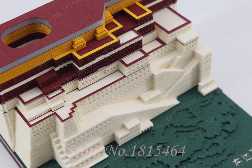 3D Palacio Potala modelo papel creativo Red estéreo pegatinas presente mundo arquitectura DIY cultura modelo regalo Decoración - 3