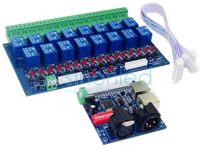 Wholesale 16CH Relay switch dmx512 Controller,relay output,DMX relay control,16way relay switch(max 10A),high voltage led lights led dmx512 8 groepen rgb controller digitale display 24ch dmx adres controller dc5v 24v elke ch max 3a